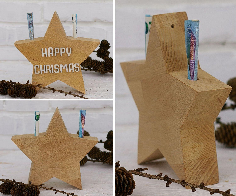Geldgeschenk zu Weihnachten hübsch im Holzstern verpackt.