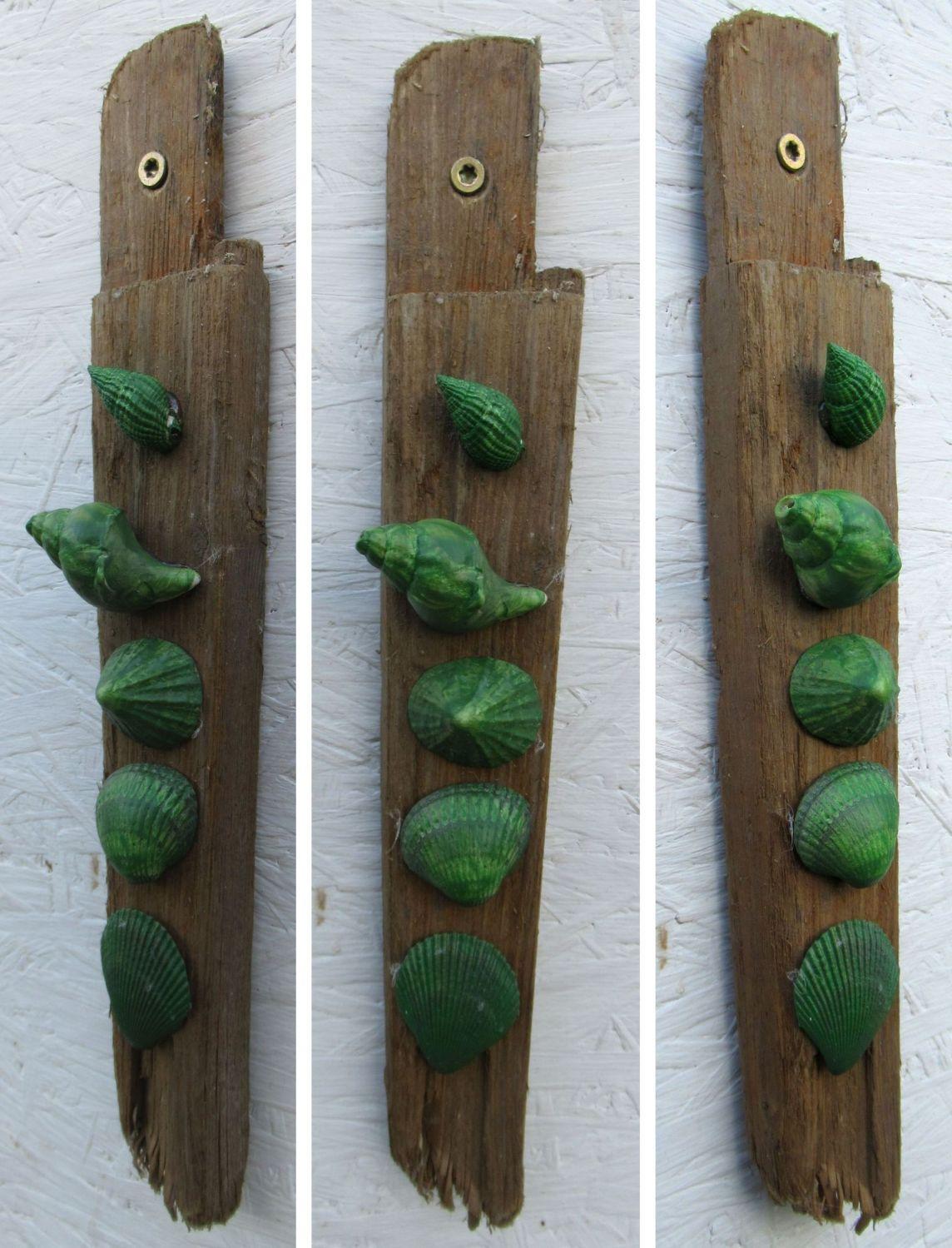 Bastelidee mit Treibholz und bunten Muscheln