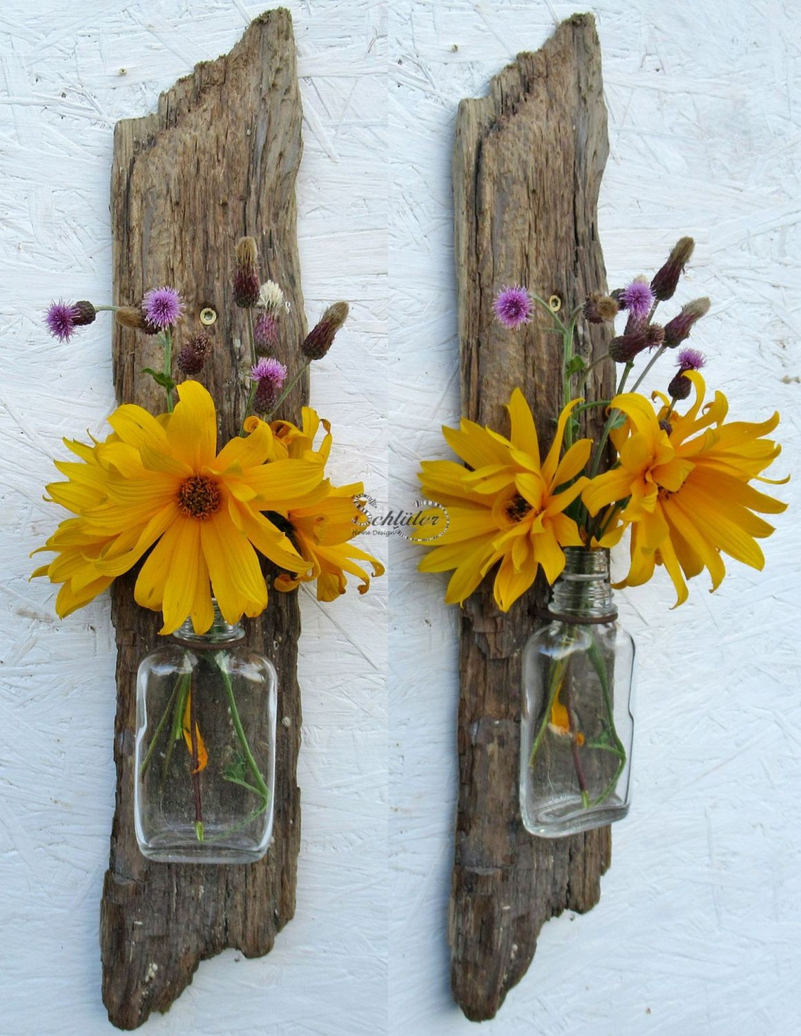 Upcycling idee Vase aus Treibholz und Glas