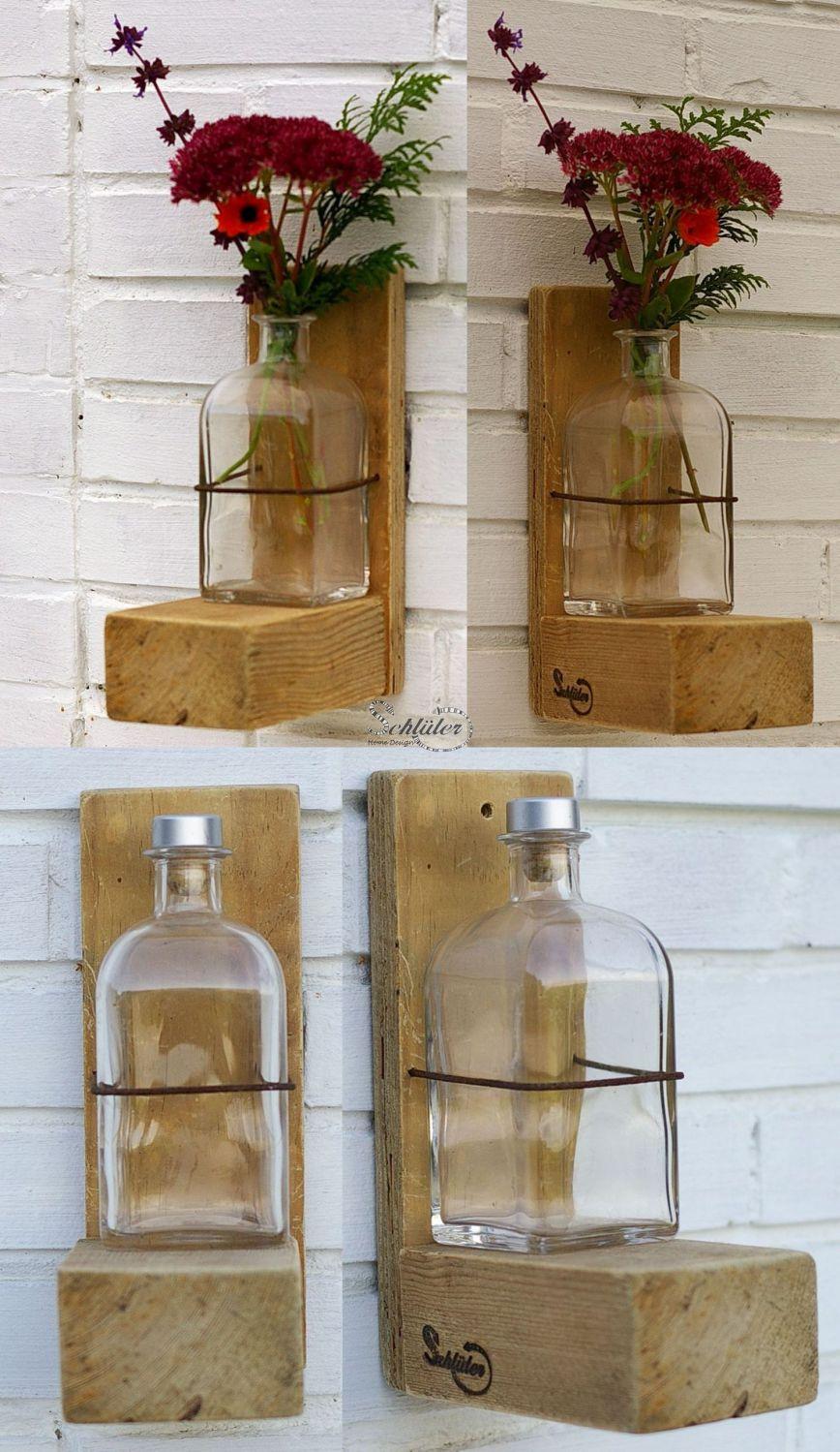 Vase zum Aufhängen aus Altglas und Palettenholz zum Selbermachen