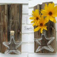 Upcycling-Idee Vasen aus Treibholz, Altholz und Altglas