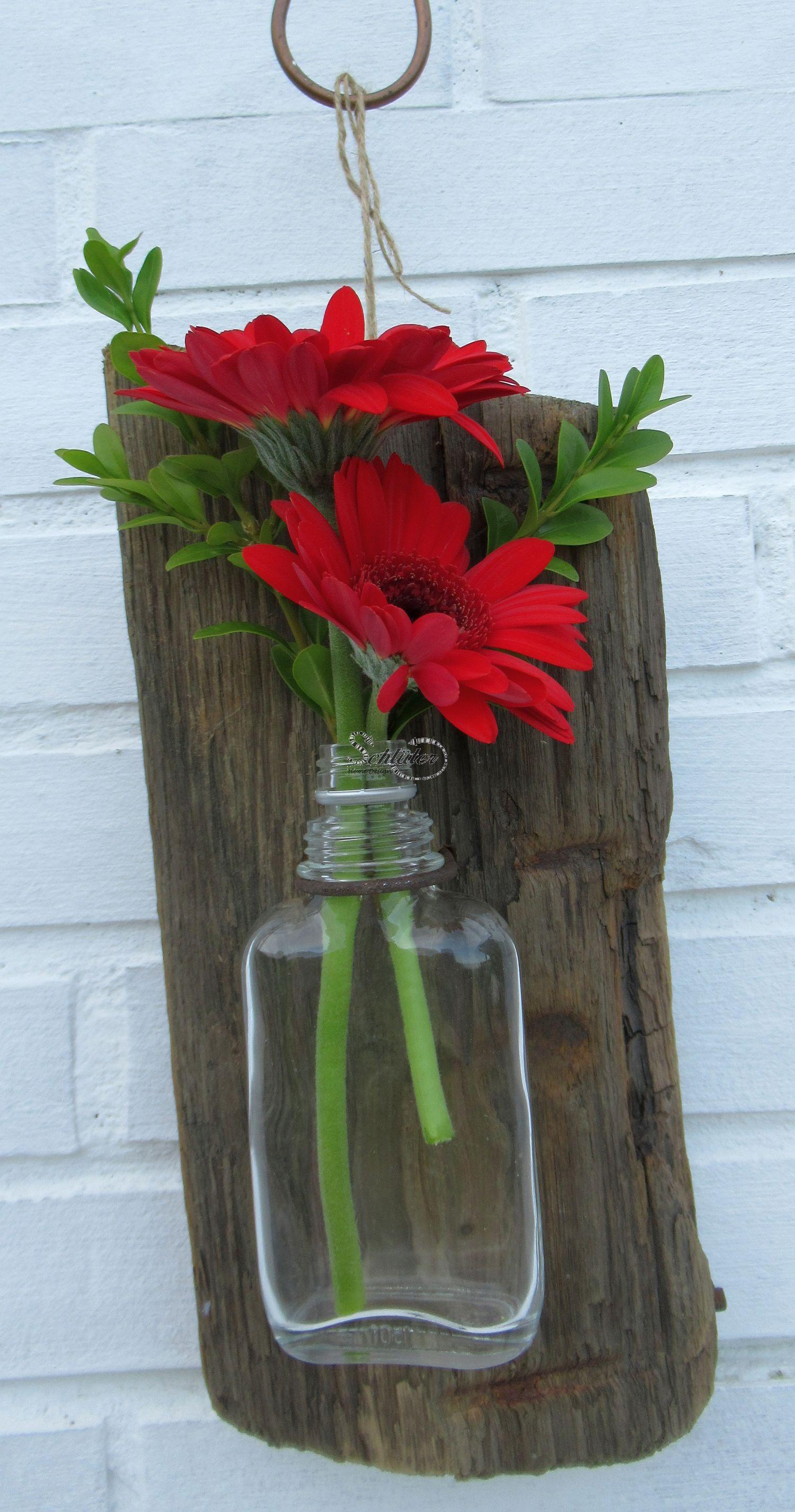 Upcycling Vase aus Treibholz und Glas zum Selbermachen
