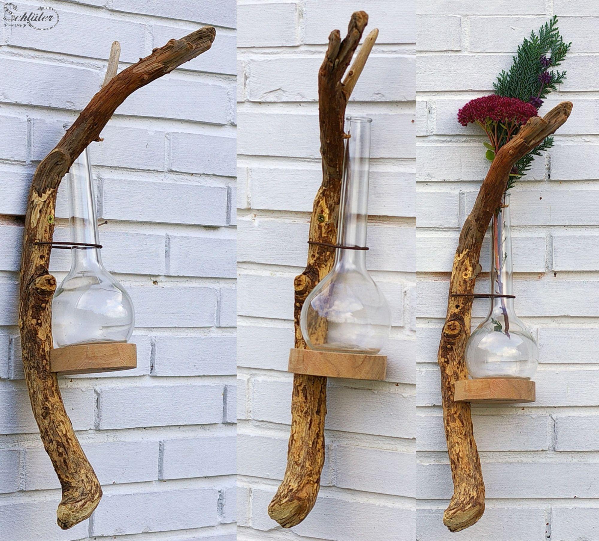 diy idee nachhaltige vasen aus treibholz und altglas