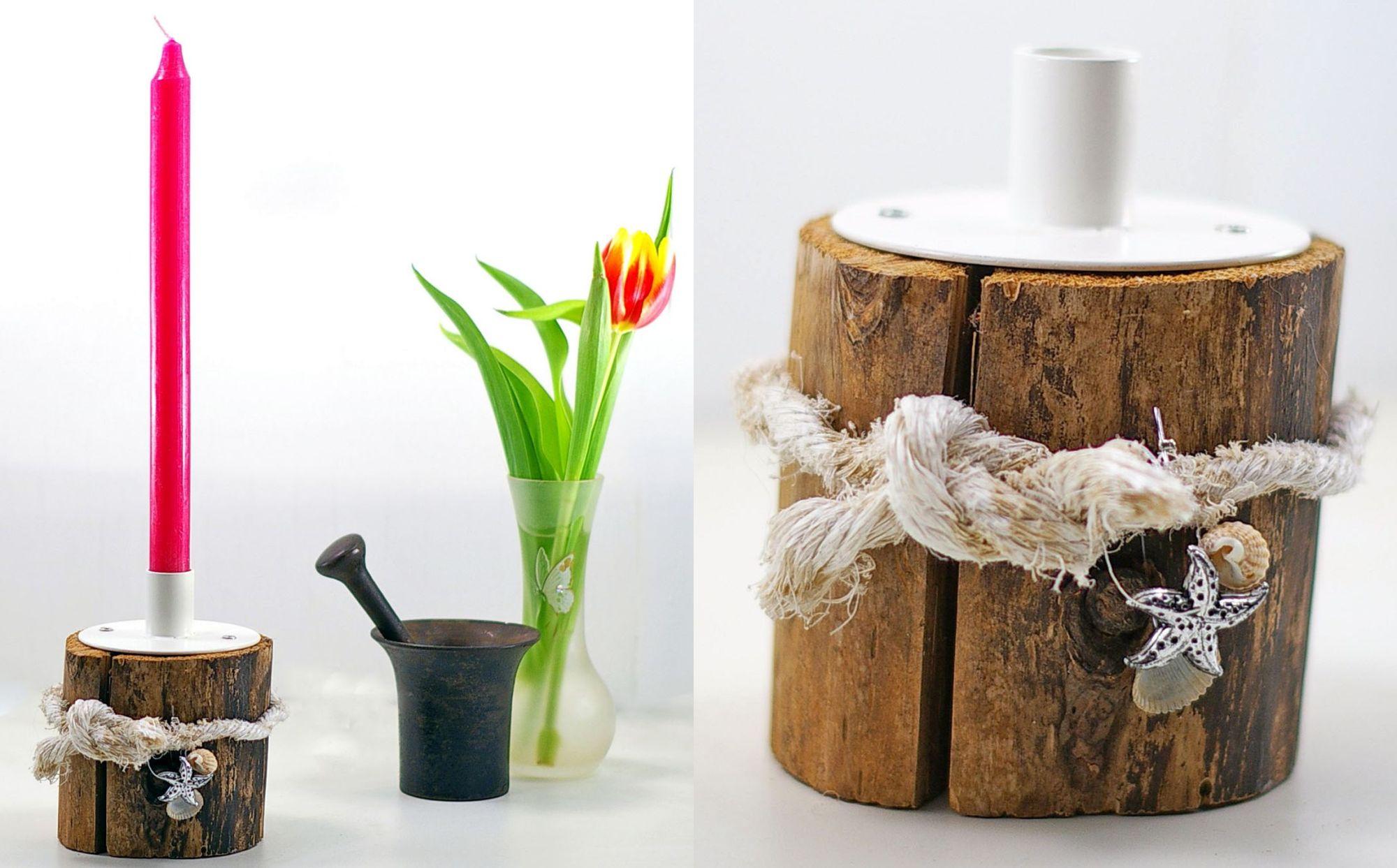 Aus einem einfachen Holzstückchen kannst du schnell einen individuellen Kerzenständer bauen