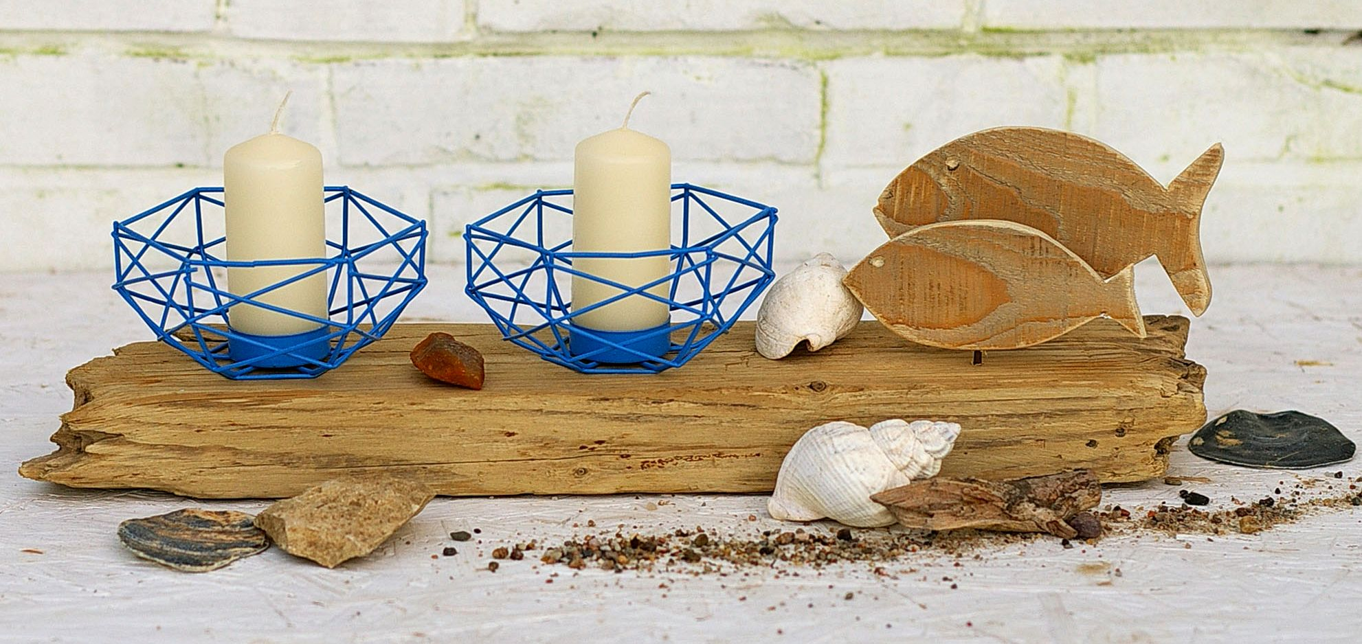 Maritimer Kerzenständer mit Fischen und Treibholz selbermachen, Ideen für nachhaltige wohnaccessoires
