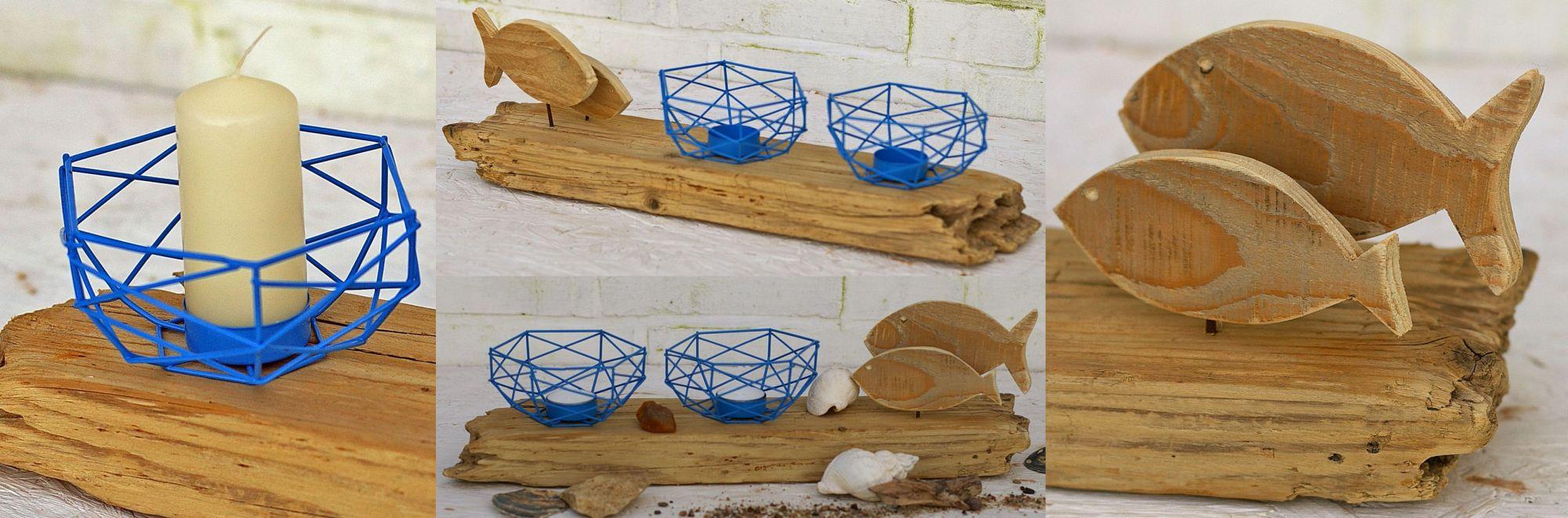diy idee kerzenhalter aus treibholz mit maritimer Deko, schönes Wohnaccessoire für Zuhause
