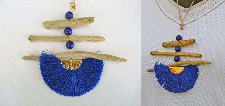 Kettenanhänger aus Treibholz und einem Textilfächer zum Selbermachen