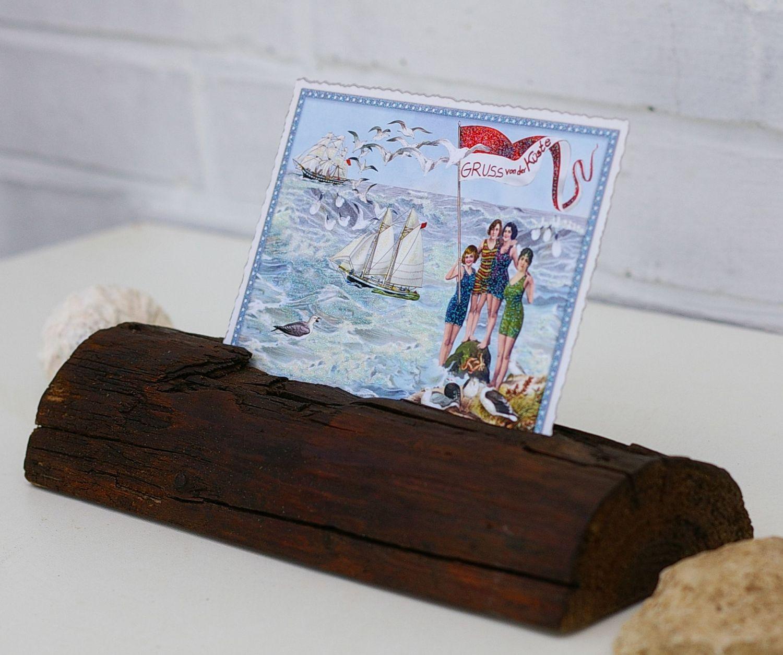 Toller Ständer für Fotos und Karten aus Treibholz zum Selbermachen.