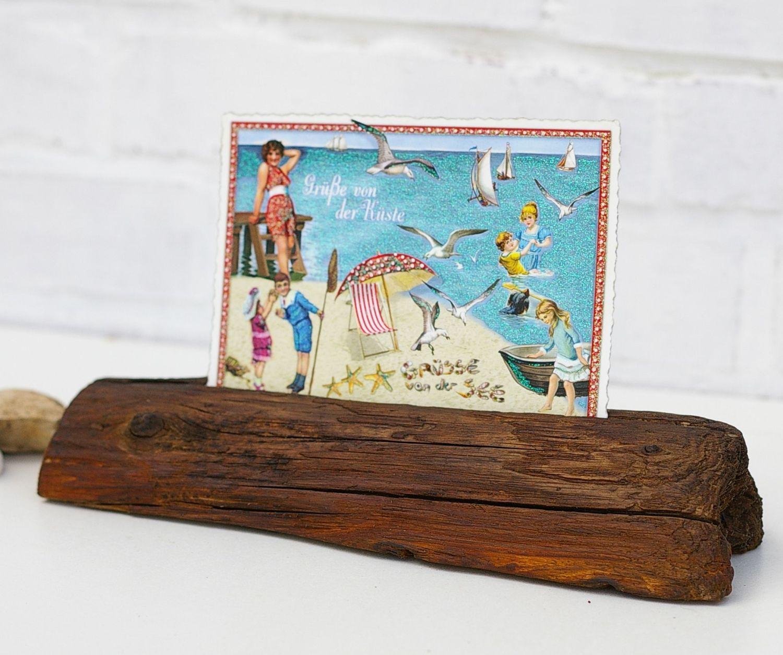Treibholz als Postkartenständer oder Fotohalter zum Selbermachen