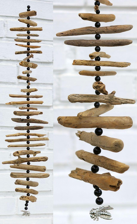 Mobiles aus Treibholz als Gartendeko