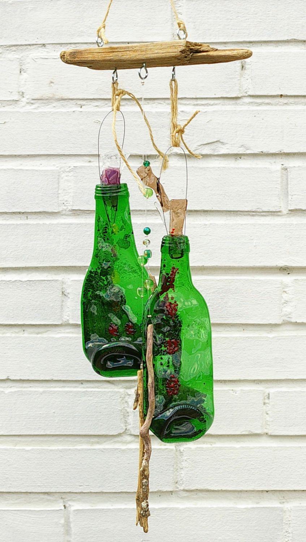 Windspiel mit Fusing Glas Flasche und Treibholz, diy