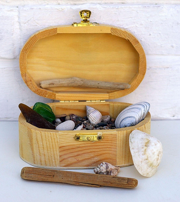 Holzkiste mit Muscheln, Treibholz, Sand und Steinen