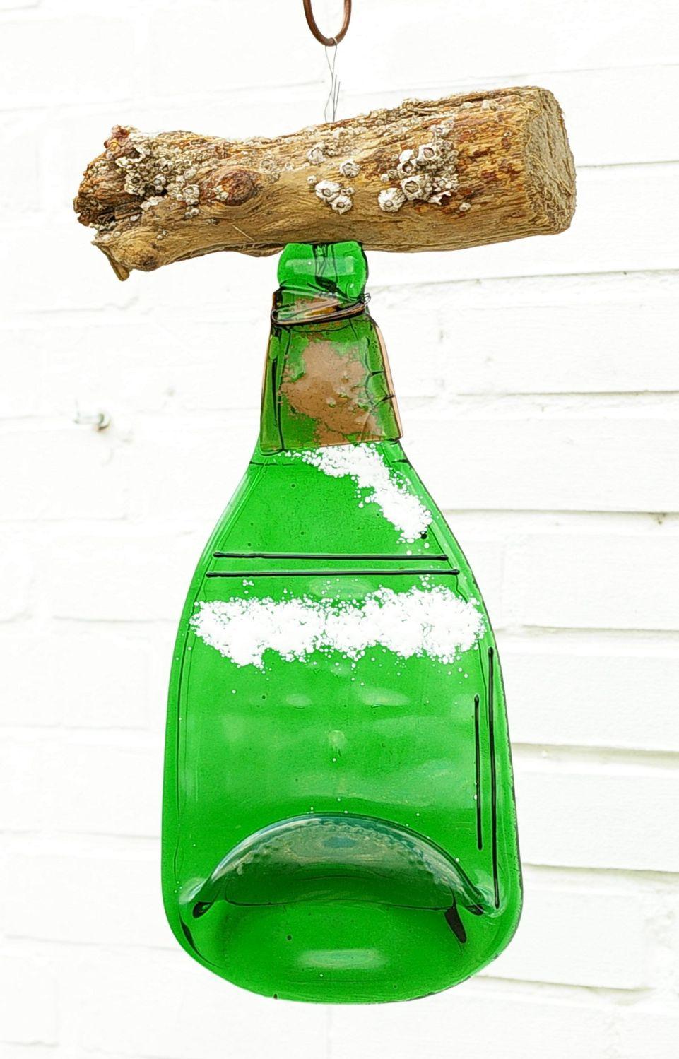 Gartendekoration Windspiel mit Treibholz und Flasche, aussergewöhnlich