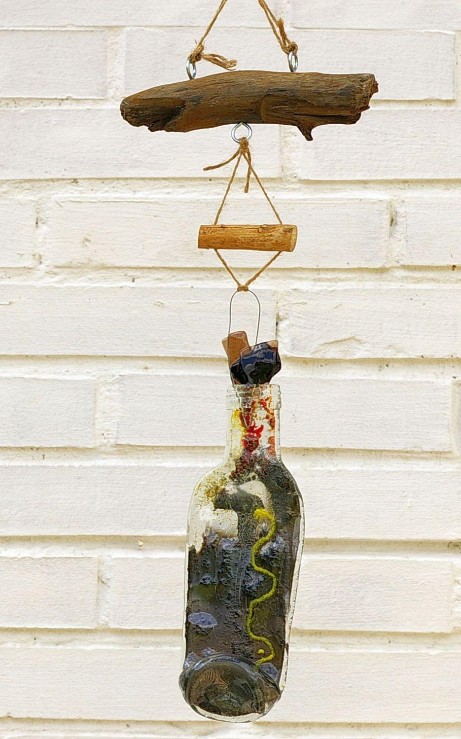 Mobile für den Garten zum Selbermachen, mit Glas und Treibholz
